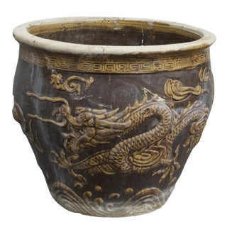 Glazed Dragon Porcelain Planter
