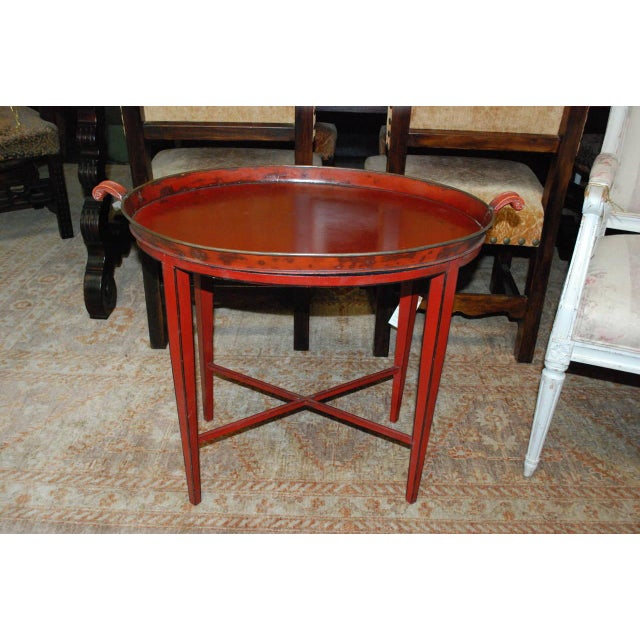 English Red Oval Table Tray - Image 2 of 8
