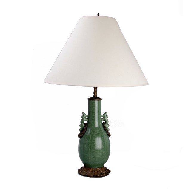 Image of Green Ceramic and Iron Table Lamp