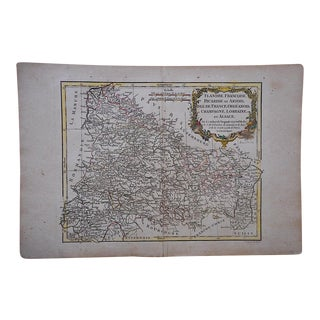 18th C. Antique French Map-Champagne, Lorainne & Alsace