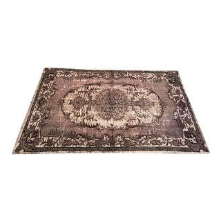 Dark Gray Overdyed Antique Turkish Wool Rug - 5′10″ × 9′5″