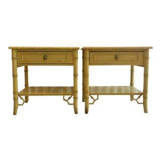 Thomasville Hollywood Regency Faux Bamboo Nightstands- A Pair