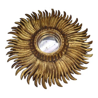 Exquisite French Hand-Carved Giltwood Sunburst Mirror