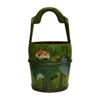 Chinese Floral Wood Bucket
