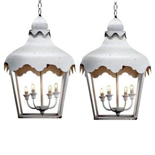 White Scalloped Pendant Lanterns - A Pair