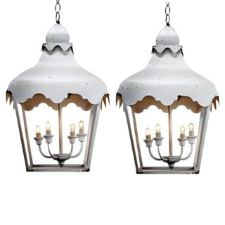 White Scalloped Pendant Lanterns - A Pair