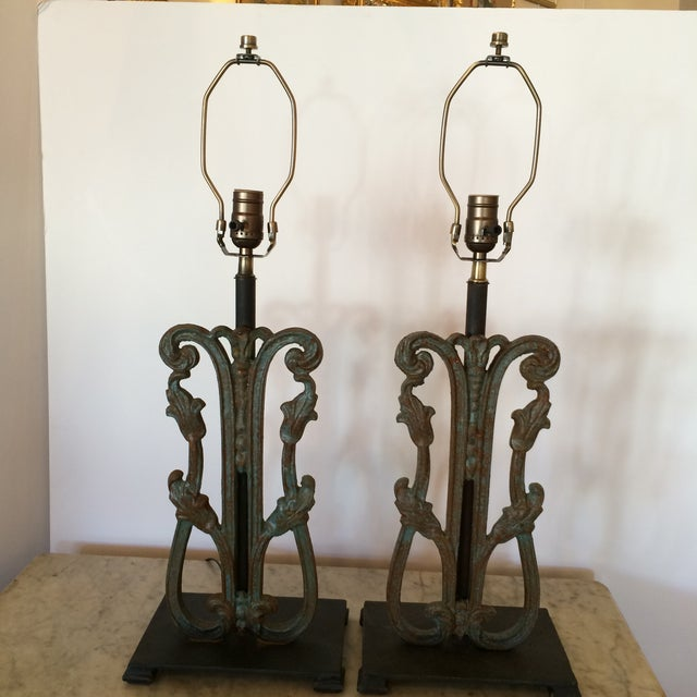 Rustic Vintage Iron Lamps - A Pair - Image 6 of 6