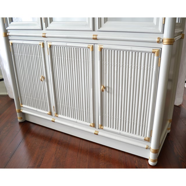 Gray Faux Bamboo Drexel Cabinet W/Gold Accents - Image 6 of 8
