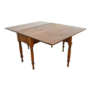 Antique Early Cherry Drop Leaf Spindle Legs Table Console