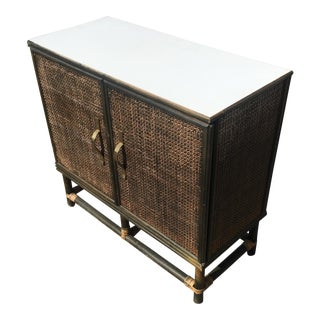 Vintage Wicker Bar Cabinet