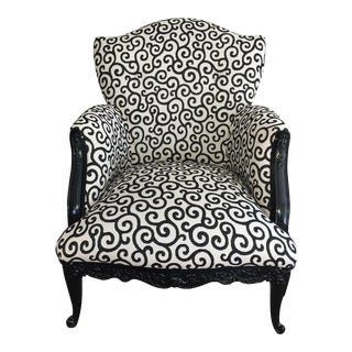 Custom Black & White Upholstered Chair