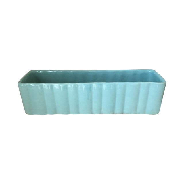 Mint Green Oblong Ceramic Planter - Image 1 of 3