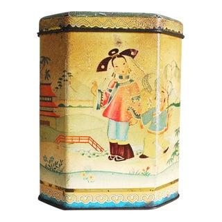 Antique Chinoiserie Style English Tea Tin