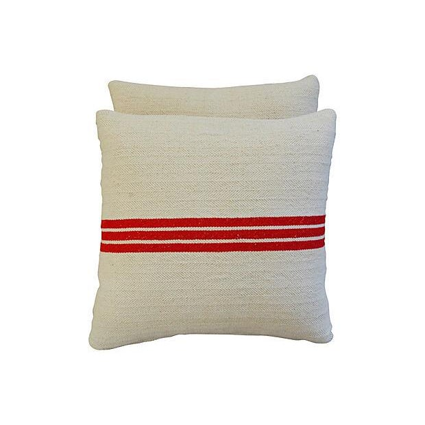 Triple Red Stripe French Textile Pillows - A Pair - Image 2 of 7