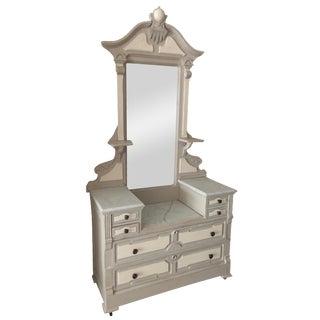 Antique Distressed Dresser With Mirror