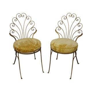 Vintage Italian Hollywood Regency Style Gilt Metal Side Chairs- A Pair