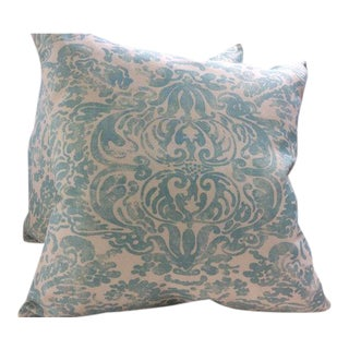 "Quadrille Turquoise on White Suncloth ""San Marco"" Pillows - a Pair"