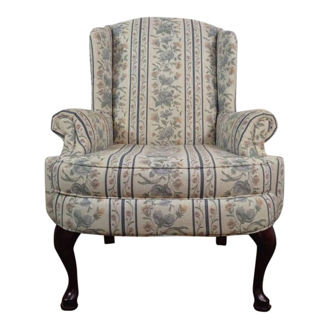 Broyhill Armchair: Vintage Broyhill Floral Upholstered & Mahogany Wingback