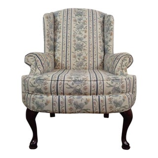 Vintage Broyhill Floral Upholstered & Mahogany Wingback Armchair