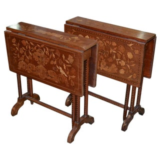 Pair of Marquetry Drop Leaf Side Tables