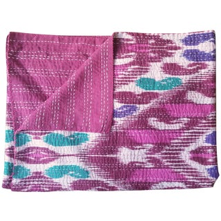 Berry Brushstroke Kantha Throw