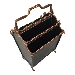 Footed Copper Tole Acanthus Magazine Rack