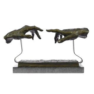 Touching Hand Bronze Sculpture on Marble Base Statue
