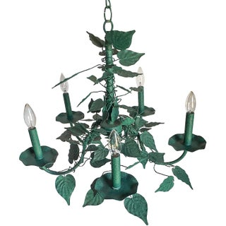 Vintage Italian Tole Verdigris Leaves 5-Arm Chandelier