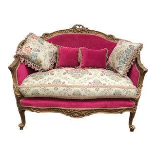 French Style Reproduction Loveseat & Pillows