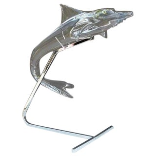 Outstanding Large Daum Crystal Dolphin Flying on Chrome Stand