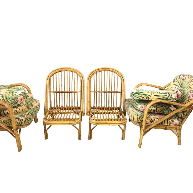 Image of 1950s Tiki Bamboo Chair Set - 4 Chair