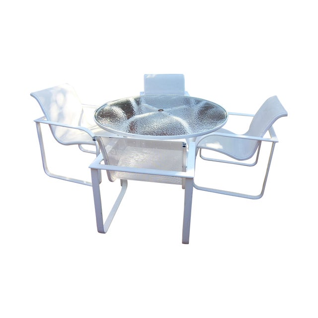 Brown Jordan Outdoor Dining Umbrella Table Set - Image 1 of 5
