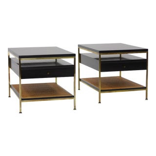Pair of Brass and Cane Irwin Collection End Tables by Paul Mccobb