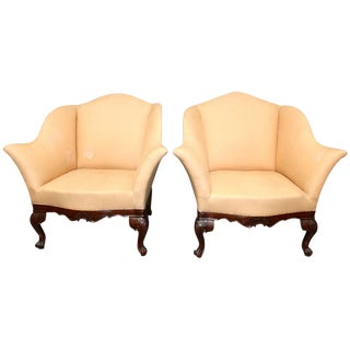 Pair of Carved Walnut Italian Armchairs