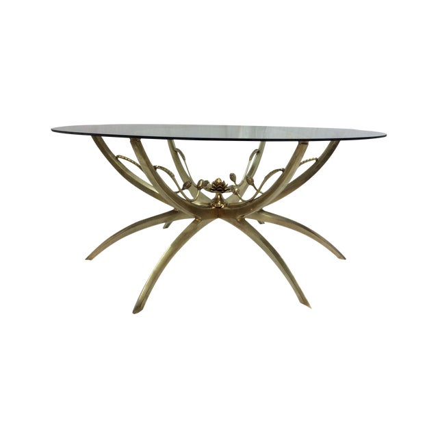 Midcentury Brass Spider Leg Lotus Coffee Table - Image 1 of 7