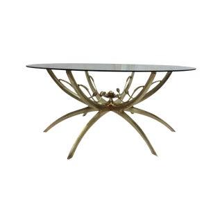 Midcentury Brass Spider Leg Lotus Coffee Table