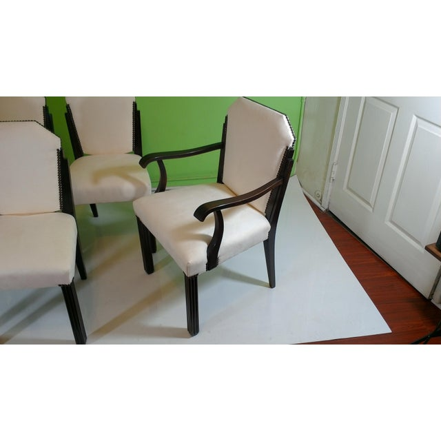 White Suede Deco Dining Chairs - Set of 8 - Image 5 of 11