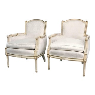 Pair, Mid Century Signed Hibriten French Provincial Chairs