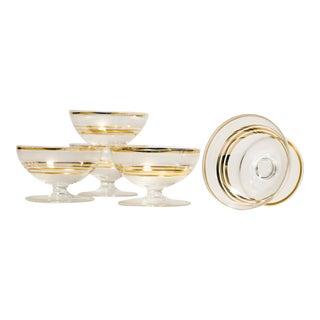 Vintage Gold Stripe Coupe Glasses - Set of 5