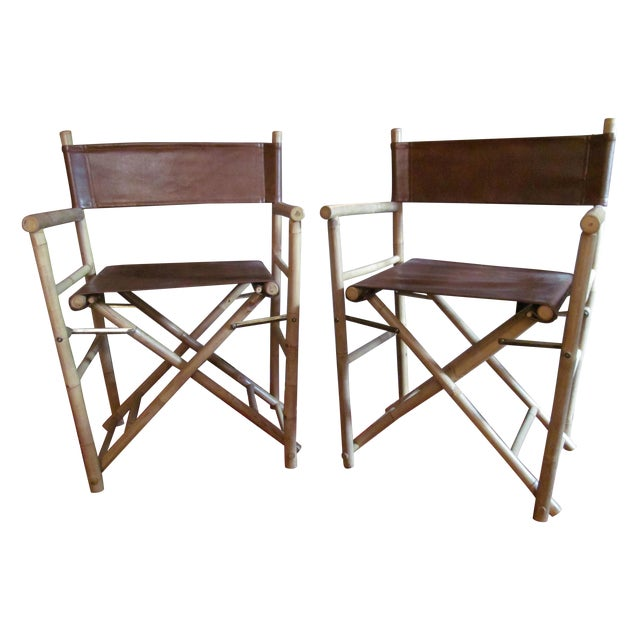 Custom Leather Director's Chairs - Pair - Image 1 of 4