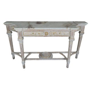 French Carved Wood Console With Onyx Top