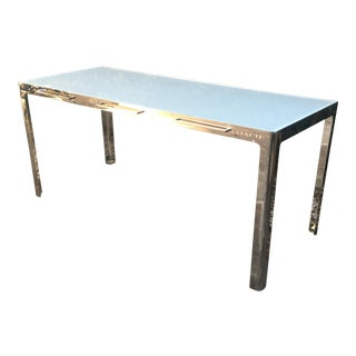 Coach Chrome & Frosted Glass Modern Console Table