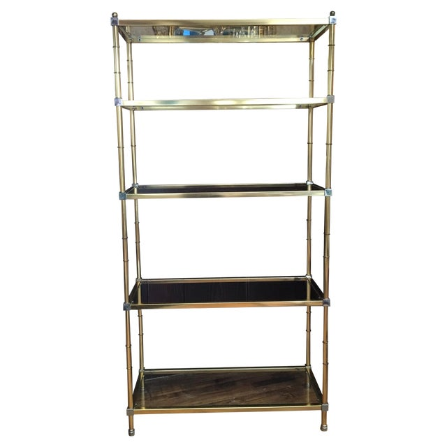 maison jansen style gold chrome etagere chairish. Black Bedroom Furniture Sets. Home Design Ideas