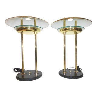 1980's Brass, Marble & Glass Table Lamps - Pair