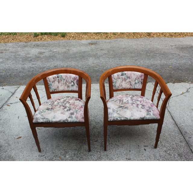 Mid Century Modern Italian Barrel Club Chairs - A Pair - Image 4 of 5