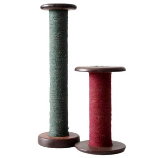 Antique Wooden Spools - A Pair