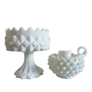Mid-Century Milk Glass Bowl & Candle Holder