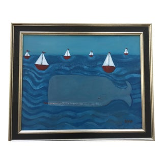 """""""The Whale"""" Contemporary Folk Painting"""