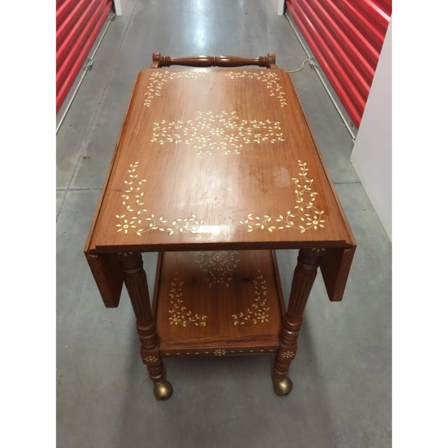 Filipino Drop-Leaf Inlaid Serving Tray Tea Cart - Image 3 of 11