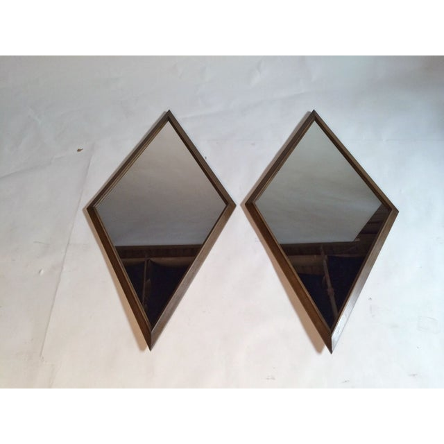 1960s Diamond Walnut Mirrors - A Pair - Image 2 of 5